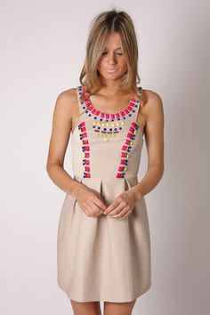 rana multi bead cocktail dress- beige