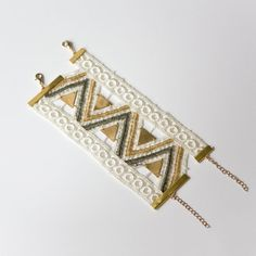 Lace bracelet  Aquarius  Ivory gold bronze and brass by thisilk, $68.00
