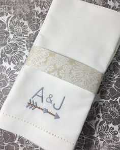 Arrow Monogrammed Napkins – White Tulip Embroidery