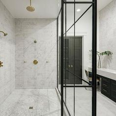 Long Marble Grid Shower Tiles with Brass Shower Heads