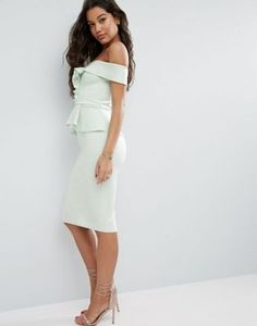 ASOS | ASOS Bardot Scuba Ruffle Peplum Midi Dress