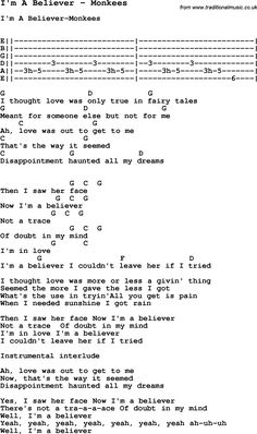 Song I'm A Believer by Monkees, with lyrics for vocal performance and accompaniment chords for Ukulele, Guitar Banjo etc.