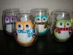 painted glassware ideas for christmas | Hand painted Christmas/holiday owls.Set of 4 stemless wine glasses ...