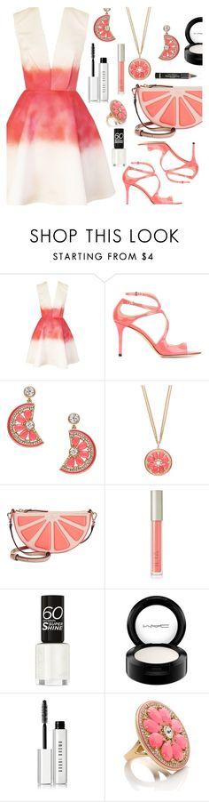"""Ombre Dress"" by deborah-calton ❤ liked on Polyvore featuring Joana Almagro, Jimmy Choo, Kate Spade, Ilia, MAC Cosmetics, L'Oréal Paris and Bobbi Brown Cosmetics"