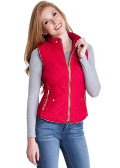 Quilted Padded Zipper Vest J1409R, clothing, clothes, womens clothing, jeans, tops, womens dress