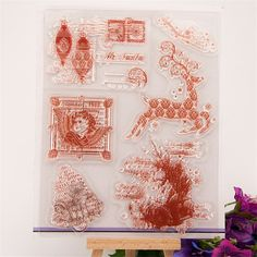 """New arrival Scrapbook DIY photo cards """"christmas and deer"""" silicone stamps transparent stamp for christmas paper craft RM-222"""