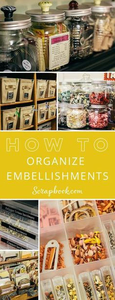 Visit http://Scrapbook.com and learn how to organize embellishments. Get lots of tips and tricks along the way.