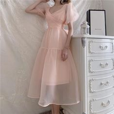 Pink Bandage Dress, Pink Prom Dresses, Pretty Dresses, Beautiful Dresses, Casual Dresses, Pink Dress Casual, Vestidos Color Rosa, Mori Girl Fashion, Fairytale Dress