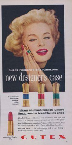 1958 Cutex Lipstick Ad 50s Make-up Advertisement Print