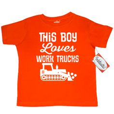 Construction vehicle bulldozer Toddler T-Shirt with this boy loves work trucks quote. $14.99 www.homewiseshopperkids.com