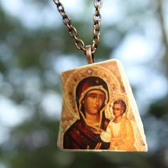 Byzantine Icon Virgin Mary Pendant Sea Pottery Pendant