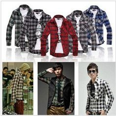 1725ca52424 2011 New Mens Joker Plaid Shirt Mens long-sleeved Shirt Colour  Five Kinds  Of Colors Size  M