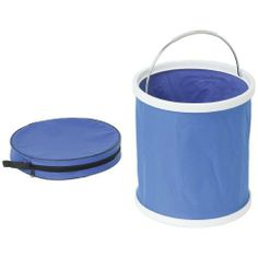 """Grizzly H8202 3-1/2 Gallon Folding / Collapsible Bucket by Grizzly. $12.95. Perfect for home, shop, boat or RV, this bucket holds 3-1/2 gallons and collapses down to only 11-1/4"""" diameter x 2"""" high. The bucket features a rigid rim with steel handle and solid bottom. Completely watertight, this bucket is also great for transporting small items and tools. Includes a storage pouch with zippered pocket. Extended height is 12-1/4""""."""