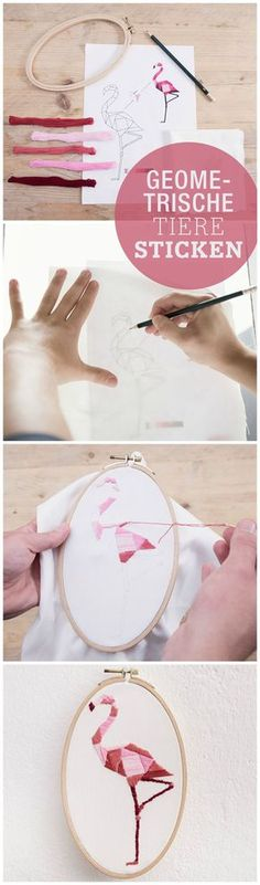Kostenlose Anleitung: Geometrische Tiere im Stickrahmen, sticken lernen, Flamingo / free diy tutorial: create embroidery animals, geometric, pink flamingo via http://DaWanda.com