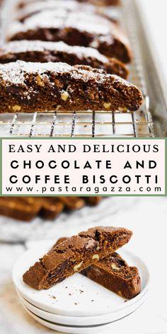Chocolate Almond Biscotti Recipe, Italian Almond Cookies, Delicious Chocolate, Chocolate Recipes, Baking Recipes, Cookie Recipes, Dessert Recipes, Desserts, Holiday Baking