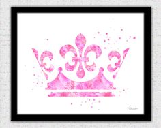 Light pink crown print, crown silhouette, crown art print, crown decor, soft pink crown art, pink crown wall art, pink princess crown