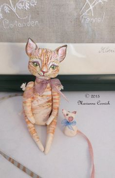 Miniature Cat and Mouse Love Art Dolls  Made by MarianneCornishArt