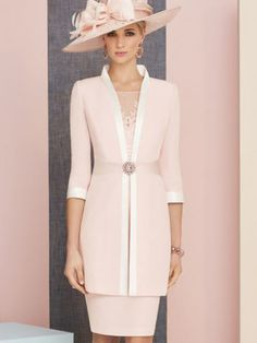 Veni Infantino 991313 Colour Rose & Ivory, price A knee length satin back crepe dress lace appliques, wide waistband and matching ¾ length sleeved jacket. Mother Of The Bride Looks, Mother Of Bride Outfits, Mother Of Groom Dresses, Mothers Dresses, Mother Bride, Mode Outfits, Dress Outfits, Fashion Dresses, Mob Dresses