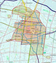 Plano del antiguo Tenochtitlán bajo el actual plano callejero.