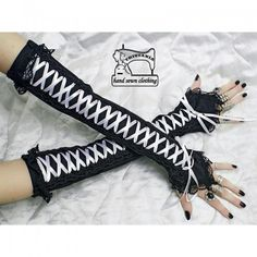 Fingerless Gloves Arm warmers Gothic Burlesque Goth Corset style 0330