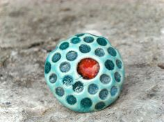 Red and turquoise ring, ceramic red jewelry spring