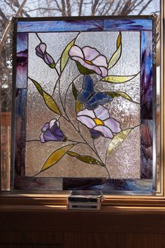 20 X 17 Copper Foil Stained Glass, pattern available for $300.00 #StainedGlassButterfly