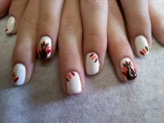 Thanksgiving nails white with turkey and brown orange and red feather accents  Oasis Salon and Spa Mill Hall Pa (570)726-6565