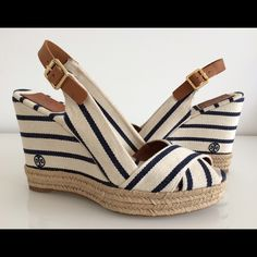 "TORY BURCH BELLER NAVY/IVORY CANVAS WEDGE, SIZE 10 TORY BURCH BELLER NAVY/IVORY CANVAS WEDGE SANDALS, SIZE 10, HEEL HEIGHT 4"", PLATFORM 1"",  BRAND NEW WITHOUT BOX Tory Burch Shoes Sandals"