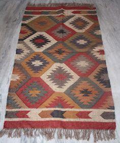 """Turkish Vintage Kilim Original Old Aged Wool Jute Carpet Area Rug 36 X 60"""" Inch #Turkish"""