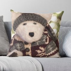 Polar Bear Pillow Cover, Winter Seasonal Throw Pillow, Stuffed Animal Pillow, Fun Whimsical Pillow Holiday Decor, Gray Vanilla Maroon Pillow
