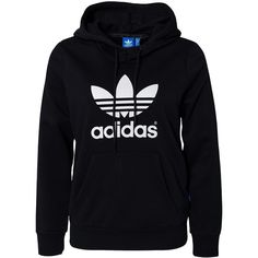 Adidas Originals Trefoil Hoodie ($65) ❤ liked on Polyvore featuring tops, hoodies, sweaters, outerwear, black, jumpers & cardigans, womens-fashion, pattern hoodie, cotton hooded sweatshirt and adidas originals hoodie