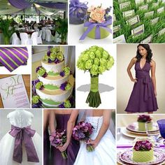 Purple and Green theme, I like the bridesmaid dress and the cake in this color scheme.