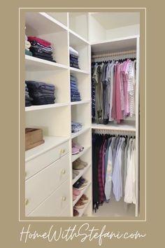 Diy Walk In Closet, Small Master Closet, Organizing Walk In Closet, Master Closet Design, Pax Closet, Closet Hacks, Master Bedroom Closet, Small Closets, Teen Closet Organization