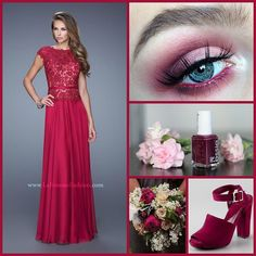 La Femme 20778 ~ mother of the bride ~ evening dress ~ cranberry dress ~ wedding guest ~ essie nail polish ~ chiffon dress ~ cap sleeves ~ cranberry eye shadow ~ makeup inspo ~ wedding flowers ~