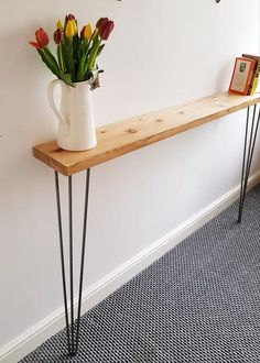 Narrow Rustic Console Table with Hairpin Legs, Slimline Hall Table, Narrow Rustic Hallway Table,Hallway Shelf/Table*FREE Leg Protectors - Deco - Small Hall Table, Narrow Hallway Table, Rustic Hallway Table, Hallway Shelf, Rustic Console Tables, Hallway Console, Entryway Tables, Small Hallway Furniture, Very Narrow Console Table