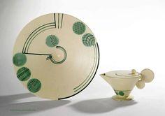 Margarete Heymann-Löbenstein, a Hael-Werkstätten ceramic teapot and bowl, Germany 1920s.