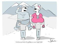 Bergsteigen für jedermann. #Gipfel-Selfie #cartoon #humor #fun #sherpa #himalaya #mounteverest #climbing #bergsteigen #Trecking