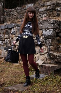 black and white top, black skirt, wine leggings, black boots