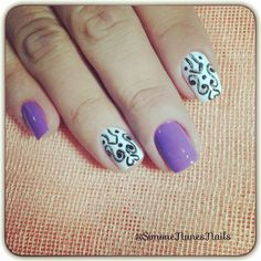 Purple Nails with Black and White Designs