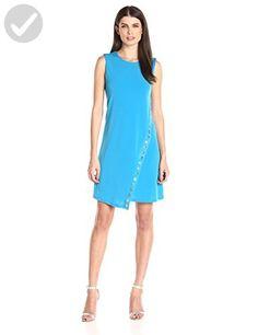 Calvin Klein Women's Round Neck Sleeveless a-Line Dress with Heat Set Trim Detail, Adriatic, 10 - All about women (*Amazon Partner-Link)