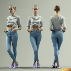 ArtStation - Girl in Jeans Posing Casual, Polygonal Miniatures Body Reference Poses, Pose Reference Photo, Female Reference, Female Modeling Poses, People Poses, Anatomy Poses, Character Poses, Character Art, Figure Poses