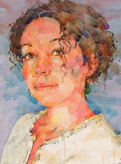 Ted Nutall, watercolor {beautiful female head woman face profile portrait cropped painting detail #loveart #2good2btrue} tednuttall.com