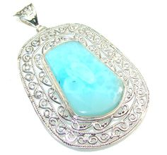 $138.50 Big!! Secret Blue Larimar Sterling Silver Pendant at www.SilverRushStyle.com #pendant #handmade #jewelry #silver #larimar