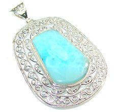 $138.50 Big!! Secret Blue Larimar Sterling Silver Pendant at www.SilverRushStyle.com #pendant #handmade #jewelry #silver #larimar