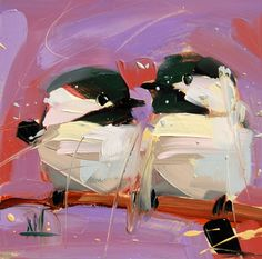 Two Chickadees no. 95 original bird oil painting by Angela Moulton 6 x 6 inch on panel