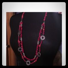 Red & Silver Premier Jewelers  Coral Ref & Silver Necklace & Matching Bracelet which can be used to extend necklace Premier Design Jewelers  Lifetime Warranty  Premiere Jewelry Jewelry Bracelets
