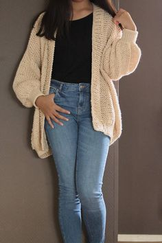 Items similar to Merino Wool Chunky Knit Sweater/ Oversized Ivory Hand Knit Cardigan/ Merino Wool Soft Sweater Cardigan/ Loose Knit Sweater/ Cardigans on Etsy Women's Sweaters, Cardigans, Sweaters For Women, Chunky Knit Cardigan, Merino Wool, Hand Knitting, Skinny Jeans, Trending Outfits, Crochet