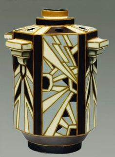 Art Deco hexagonal vase by Ch. Catteau for Boch Freres