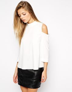 Blusa hombro al aire manga larga-blanco 10.19