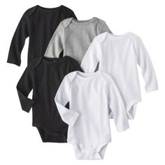 Circo® Newborn 5 Pack Long-sleeve Bodysuit - White/Grey/Black